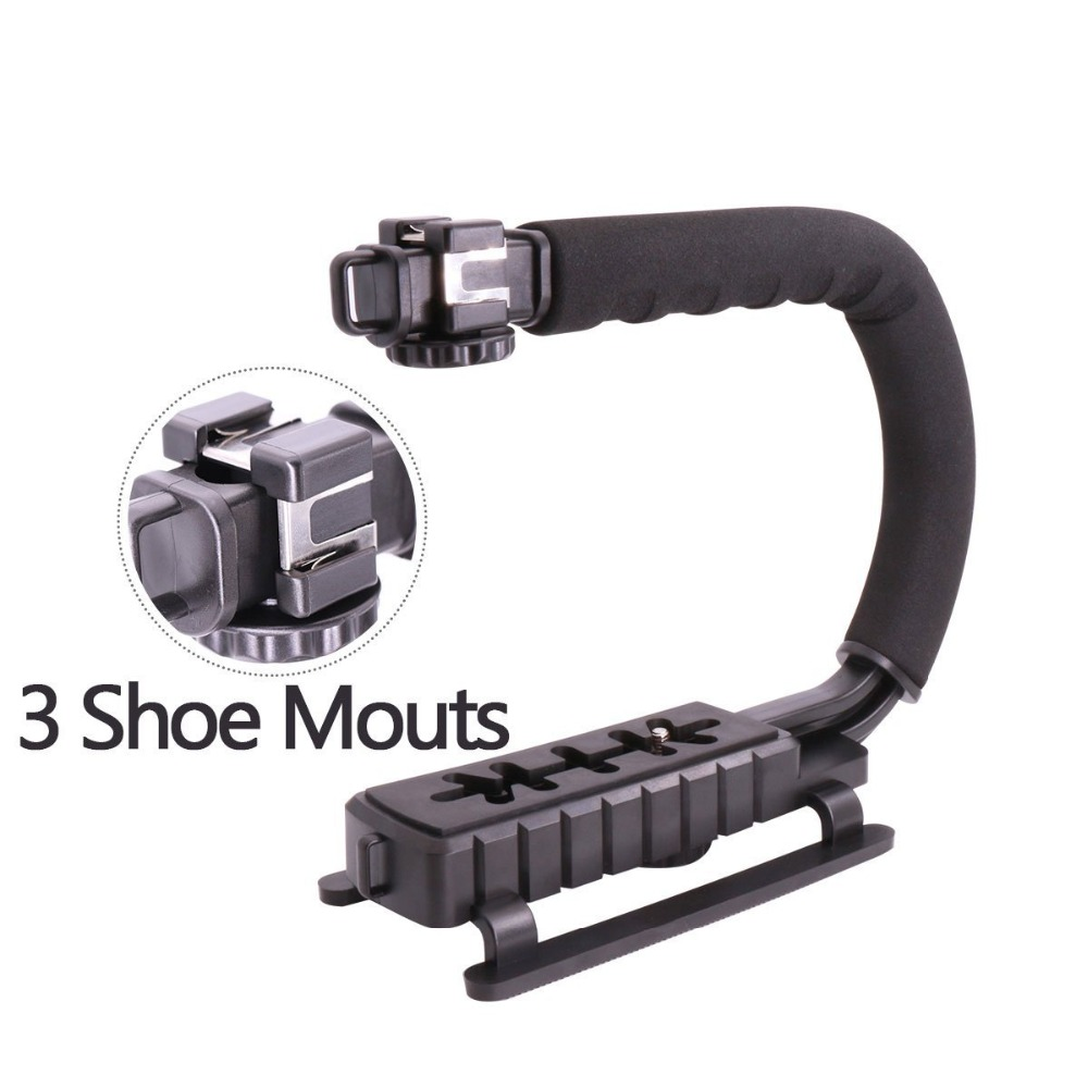 U Grip Triple Shoe Mount DSLR rig 5D2 handheld camera stabilizer DV steadicam font b smartphone