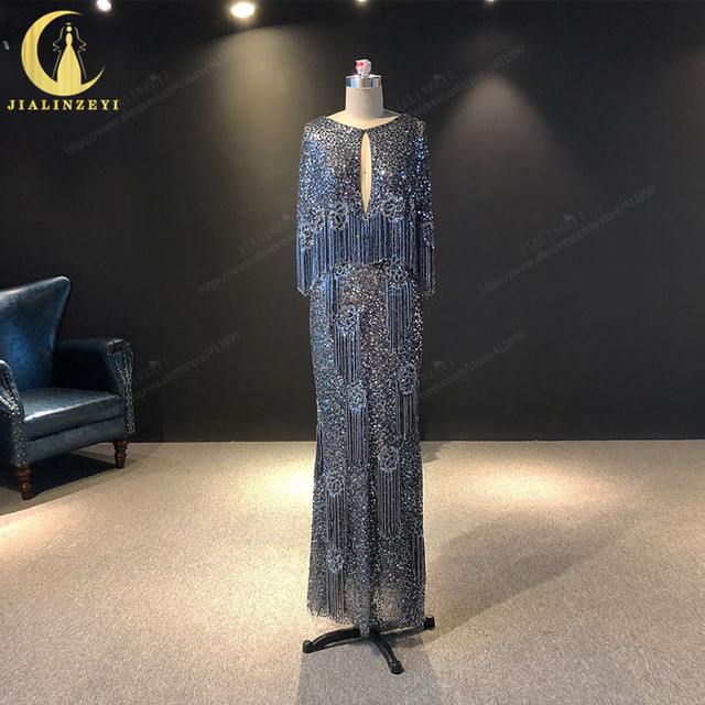 JIALINZEYI Real Sample Cape Deep Navy Blue Full Luxurious Hand Beads Mermaid Floor Length Fromal dress Party Evening Dresses
