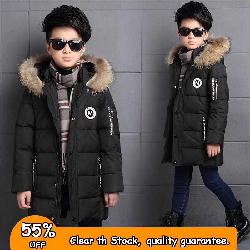 От 6 до 12 лет модная зимняя куртка-пуховик для мальчика с меховым капюшоном утолщаются теплые детские зимние парки, пальто Детская верхняя о...