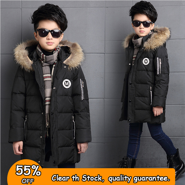 Cheap 6-12Y Fashion Winter Down Jacket For Boy Fur Hooded Thicken Warmly Kids Winter Parkas Coat Children Outerwear