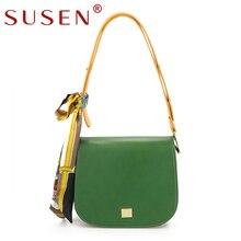 SUSEN 1026 PU Leather Panelled Handbags Women Fashion Simple Shoulder Crossbody Bags Black Pink Green Off-White Messenger Bag