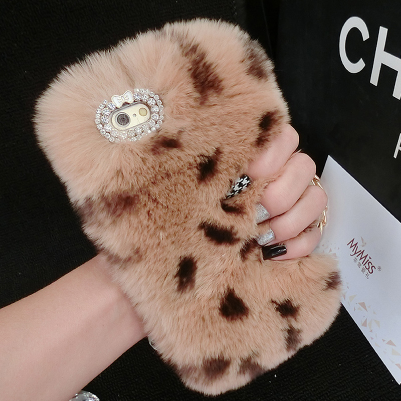 Real Rabbit Fur Case For iPhone 7 7 Plus 6S 6Plus 5 5S Luxury Hair Cover Crystal Diamond Woman Girly Phone Cases For iPhone7