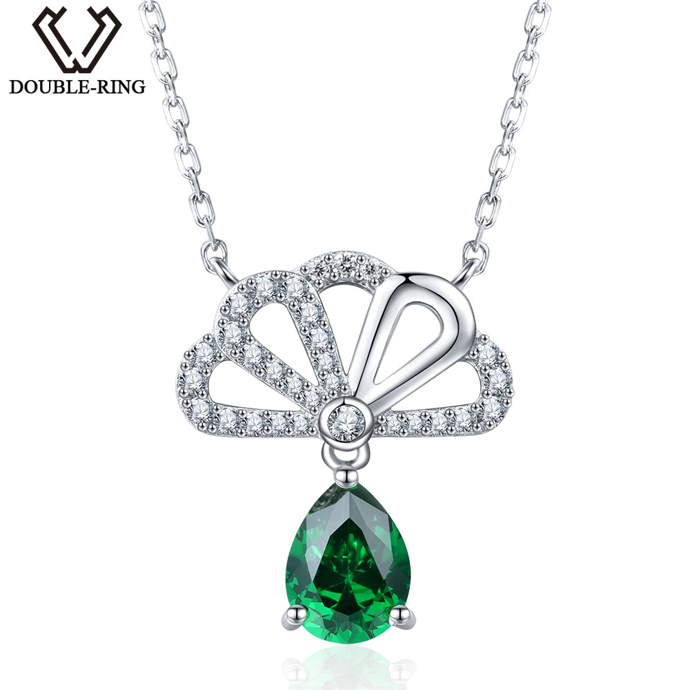 DOUBLE-R New Arrival Water Drop Fine Jewelry Real Pure 925 Sterling Silver Pendant For Women Brand Jewelry 1.1ct Created Emerald