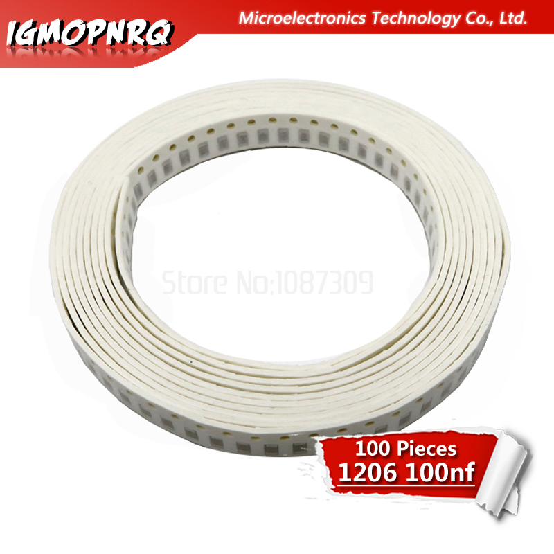 100pcs 100NF X7R Error 10% 50V 0.1UF 104 1206 Smd Capacitor