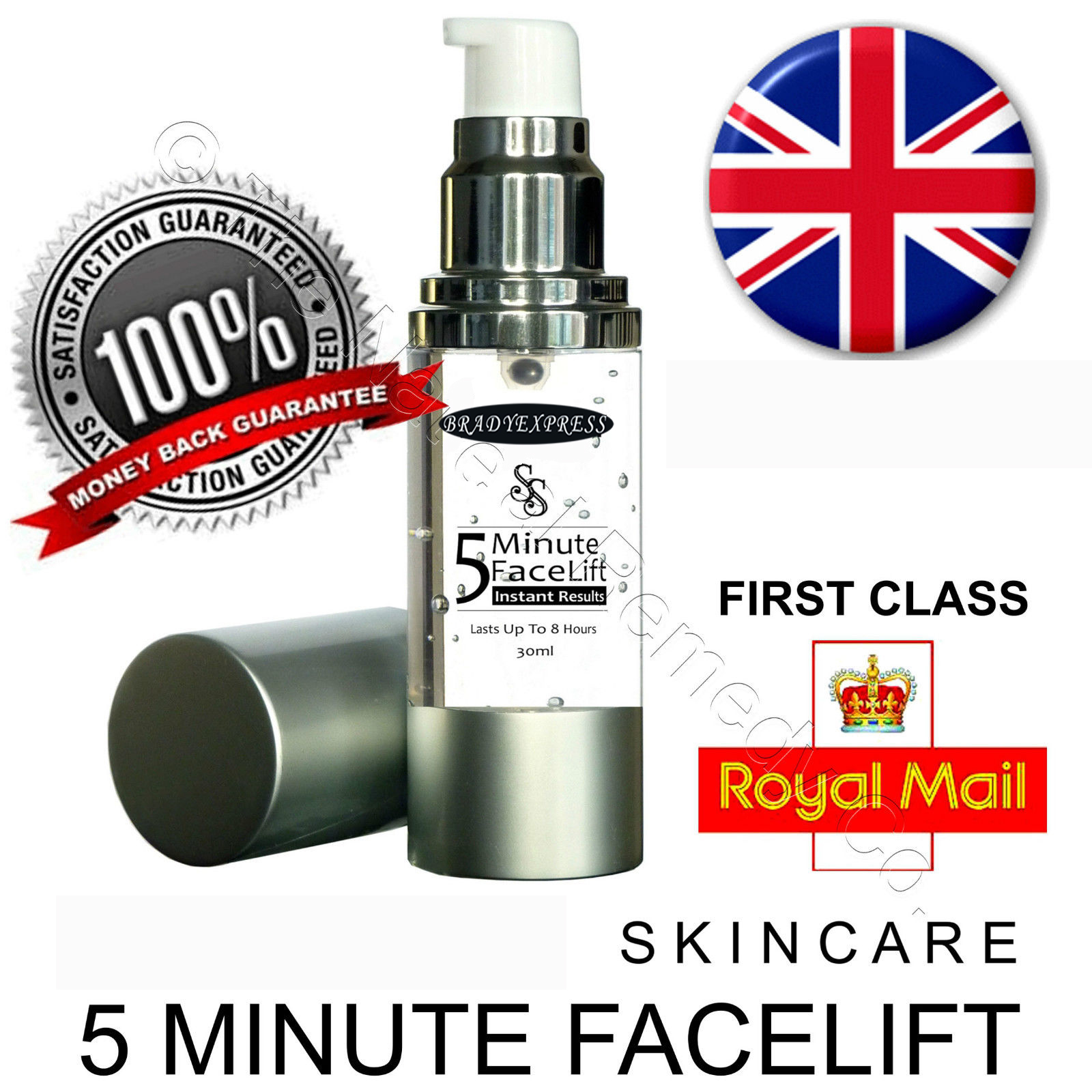 5 Minute Instant Facelift Skin Tighten Anti-Ageing Wrinkle Serum HYALURONIC ACID Free Shipping