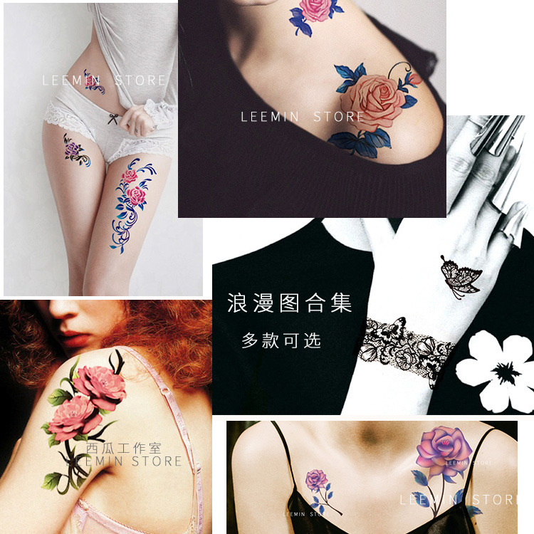 17 Lnymio temporary tattoo pretty flower large size pink and blue body art tattoo sticker 1