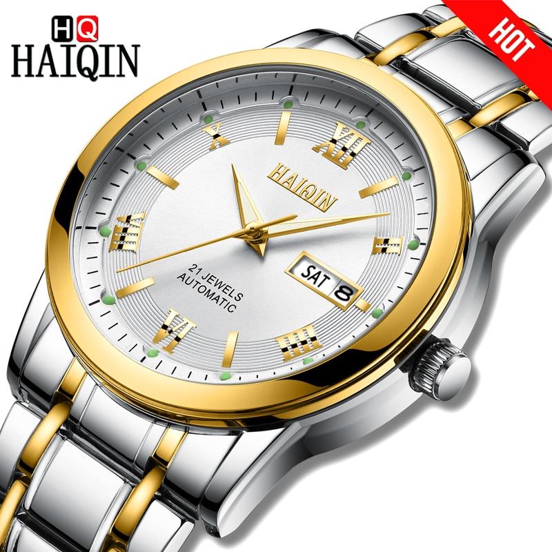 HAIQIN Men watch top brand luxury Automatic mechanical Business steel waterproof military watch men wristwatch Relogio