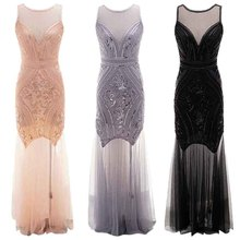 1920s Vintage Women Party Dress Flapper Great Gatsby Maxi Long Dresses Sleeveless Embellished Beaded Sequin Fringed Club Vestido sequin embellished mixed media dress