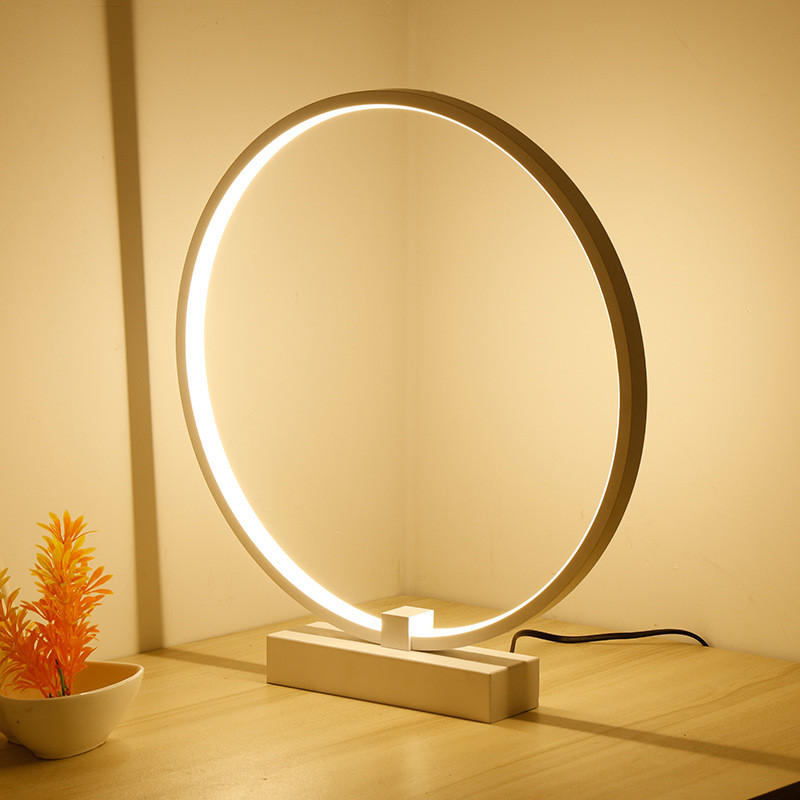 Nordic Simple Creative Livingroom LED Table Light Study Bedside Office Circular Ring Dimmable Decoration Lamp Free