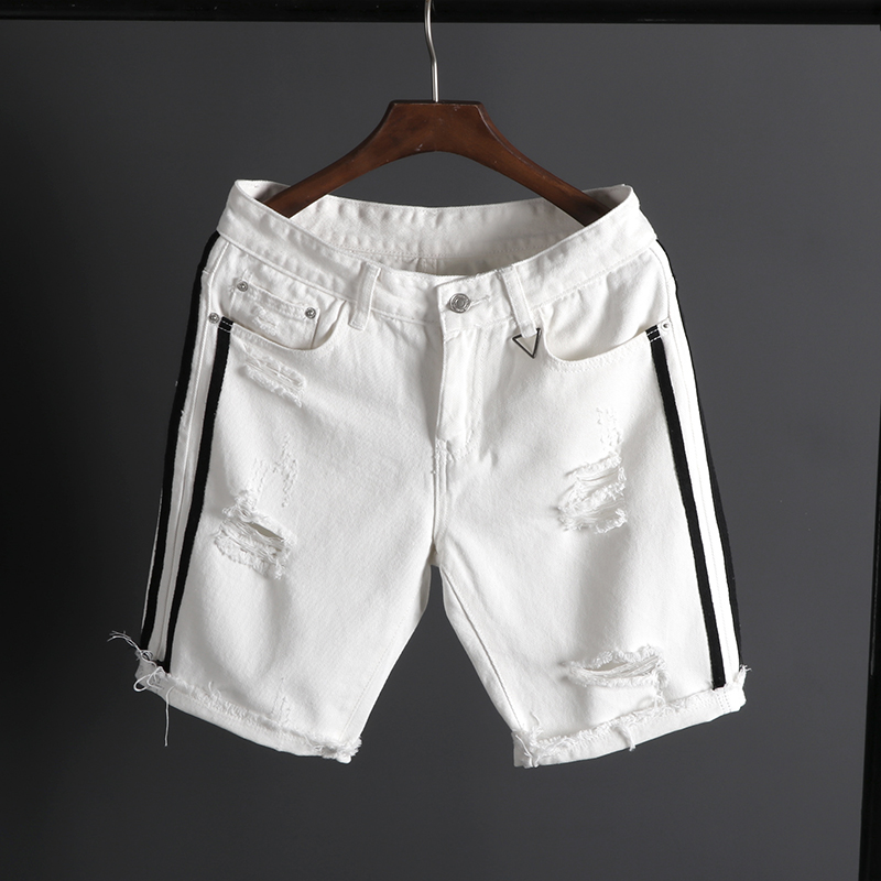 Men's Summer White Short   Jeans   Holes Denim Shorts Men 100%Cotton Knee Length Casual   Jean   Shorts Black Denim Shorts