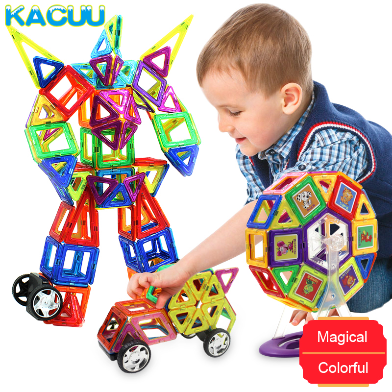 58 158pcs Big Size Magnetic Construction Kid DIY Magnetic Blocks Designer Model & Building Toys Educational Toys For Children