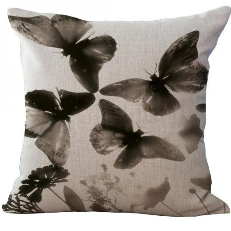 ENM Home Tex Factory Customized Beautiful Colorful Butterfly Printing Linen Throw Pillow Cojines Home Office Chair Cushion Square 45*45 Cm