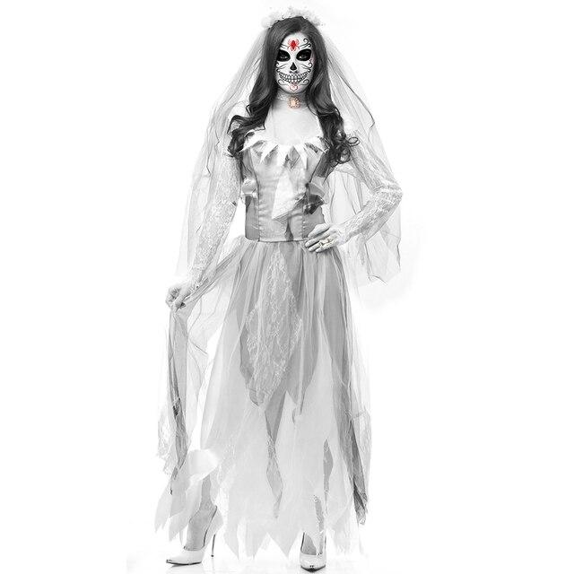 6084f9626317 Abbigliamento festa di Halloween Morto Sposa Cadavere Costume Delle Donne  Vestito Lungo Zombie Spaventoso Fantasma Da