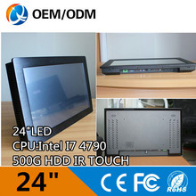 24 inch Intel core i7 4790 infrared touch industrial touch screen panel pc resolution 1920×1080 4GB RAM 500GB HDD