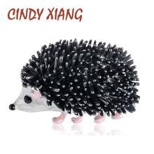 CINDY XIANG Black Enamel Hedgehog Brooches Porcupine Pin Kids Coat Bag Badges Fashion Jewelry Cute Animal Brooch Unisex Broches цена и фото