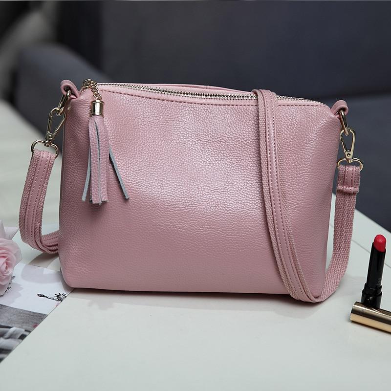 ФОТО Hot Sale Fashion Women Leather Bag Messenger Bags Tassel Shoulder Bag For Women Small Solid Color Bolsa Feminina