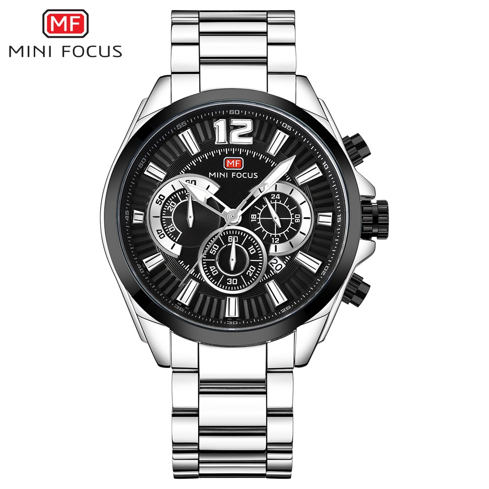 Luxury Brand MINI FOCUS Men's Chronograph Business Quartz Watch Men Sports Stainless Steel Watches Male Clock relogio masculino watches men luxury brand chronograph quartz watch stainless steel mens wristwatches relogio masculino clock male hodinky