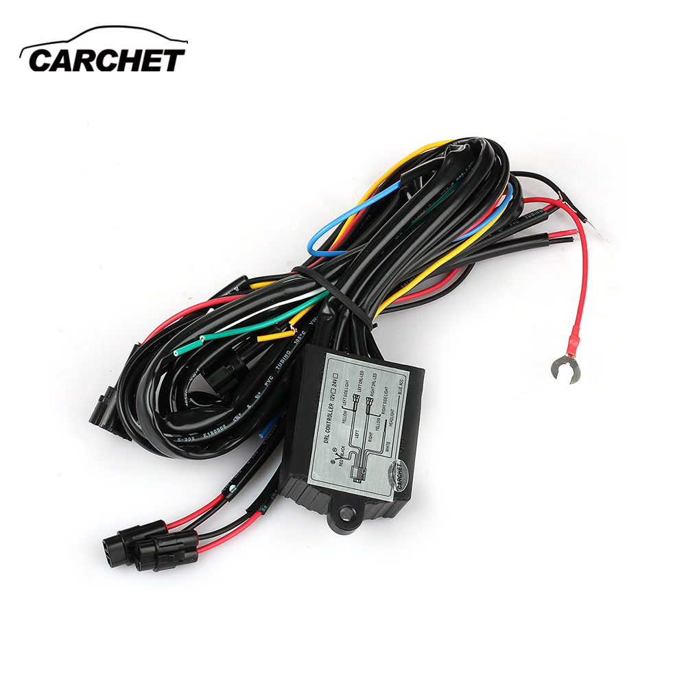 CARCHET LED DRL Daytime Running Light Relay Harness Controller On Off Dimmer Mobil DRL Daytime Running Lights DC 12 V 30 W DISCOUNT