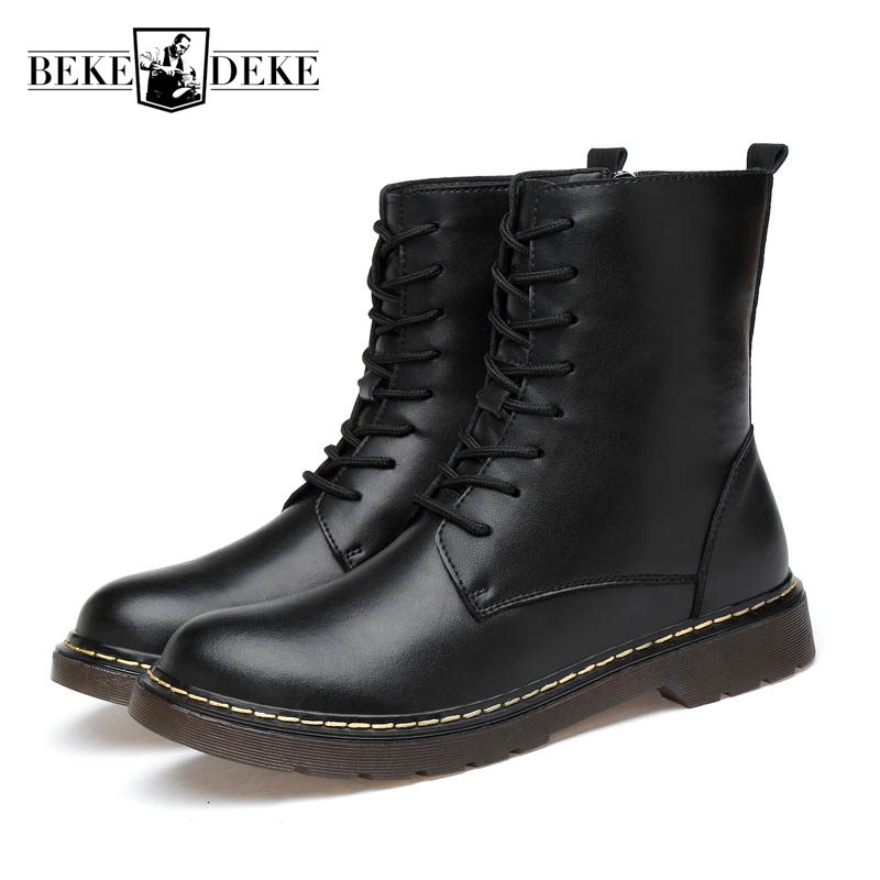Winter Fashion Men Genuine Leather Ankle Boots Matin Boots Male Fur Lining Warm Shoes High Top England Style Large Size 45 46 47 big toe sandal