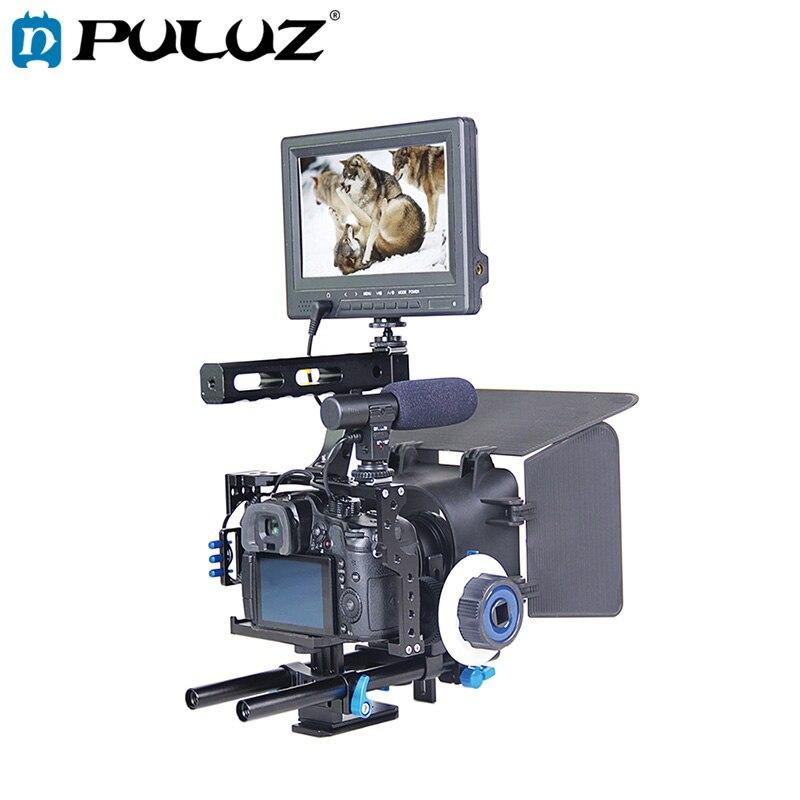 PULUZ Poignée Vidéo Caméra Cage Stabilisateur Kit avec Matte Box Follow Focus pour Panasonic Lumix DMC-GH4 G7/Sony A7 a7S A7R A7SII