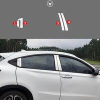 Car Accessories Stainless Steel B+C Center Pillars Protector Cover Trims Decoration Frames 6Pcs For Honda HRV Vezel 2015 2018