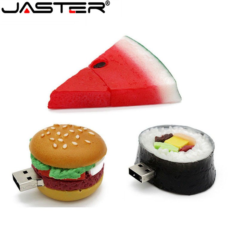 JASTER Hot Creative Watermelon Hamburger Sushi Usb Real Capacity Flash Drive 2.0 4GB / 8GB / 16GB / 32GB / 64GB Memory Stick