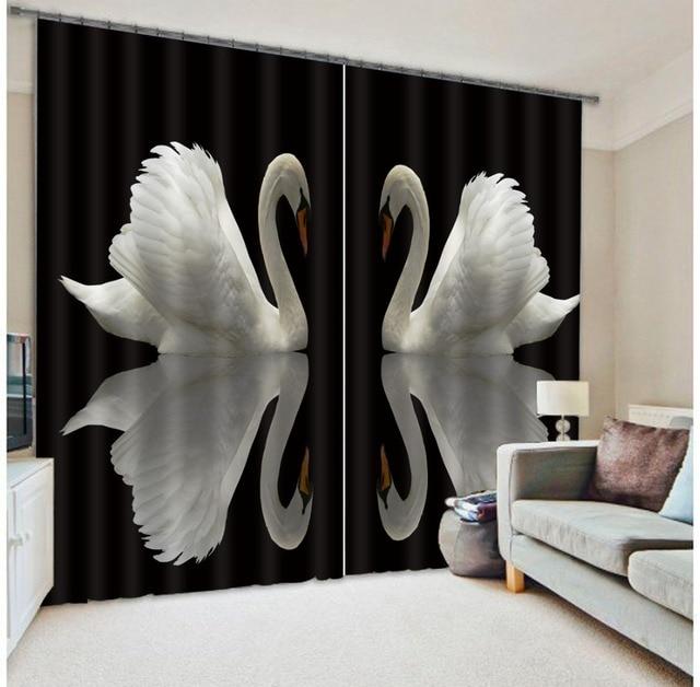 Élégant Noir Blanc Cygne 3D Fenêtre Rideaux Occultants Rideaux Pour Chambre  Salon Hôtel Bureau Maison Mur