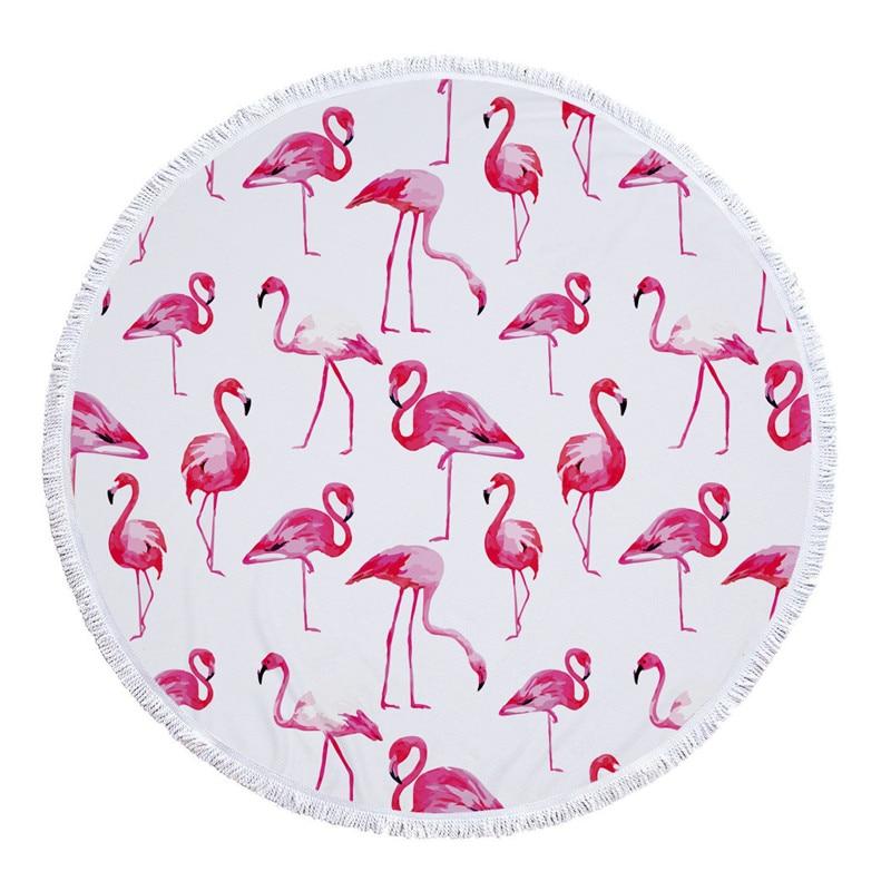 HTB1x4J3SXXXXXaWaXXXq6xXFXXXV - Round Style Microfiber Beach Towel - Flamingo With Tassels Design