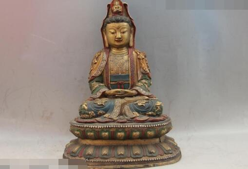 Chanson voge bijou S6183 Folk Vieux Bronze Couleur Peint Huit Immortels Dieu conception GuanYin Kwan-yin Statue
