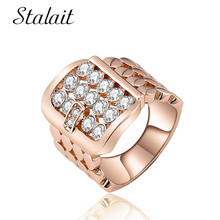 Luxury Belt Buckle Full Rhinestone Ring Charm Geometric Zircon Rose Gold Color Hollow Ring Statement Jewelry Rings For Women chic women s rhinestone geometric rose gold ring