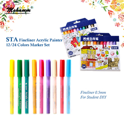 STA 12/24 Colors Fineliner Acrylic Marker Pen 0.5mm Steel Ballpoint for Album Photos Notebook DIY Canvas Bag Decoration