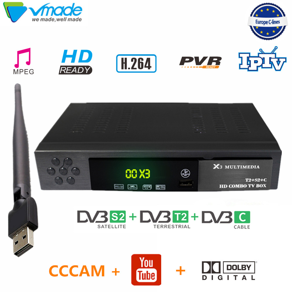Vmade Satellite Tv Box DVB T2 DVB S2 Combo Decoder T2+S2 X3 With Wifi + 1 Year Cccam Support Youtubr Dobly AC 3 IPTV Set Top Box