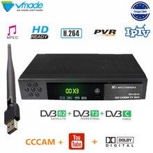 Vmade กล่องทีวีดาวเทียม DVB T2 DVB S2 combo decoder T2 + S2 X3 พร้อม wifi + 1 ปี cccam สนับสนุน youtubr dolby AC 3 IPTV ตั้งกล่องด้านบน