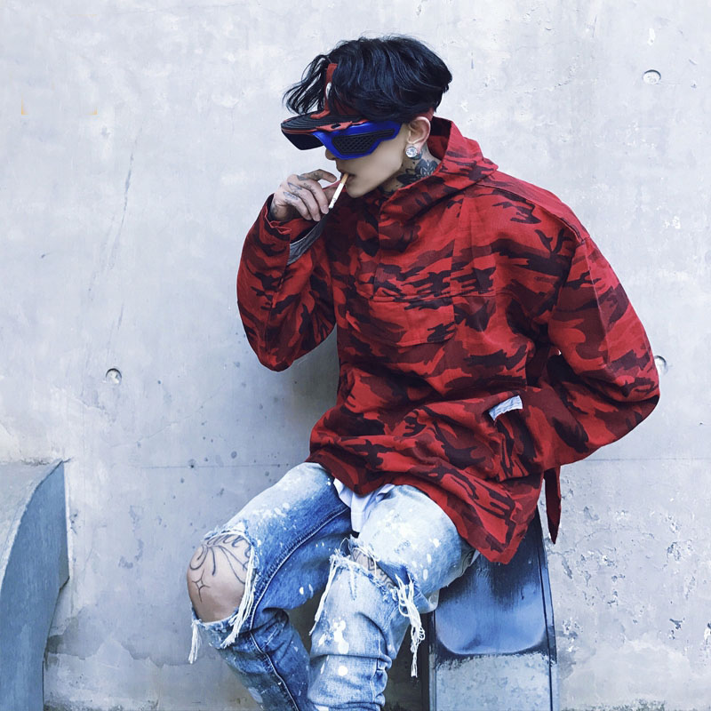 Dropshipping Suppliers Usa Camouflage Jacket And Coats Mens Red Camo Hoody Jacket US Size S-XL