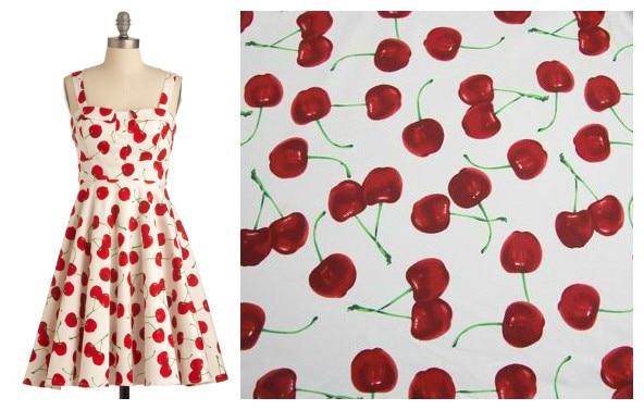 145cm100cm Hot New 100Cotton Poplin Fabrics Vintage Cherry Print For Sweing Perfect