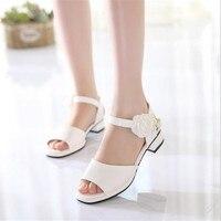 Elegant Girls Shoes 2018 Girls Princess Fashion Pearl Flower Sandals Children High Quality Summer high heel Shoes Sandals