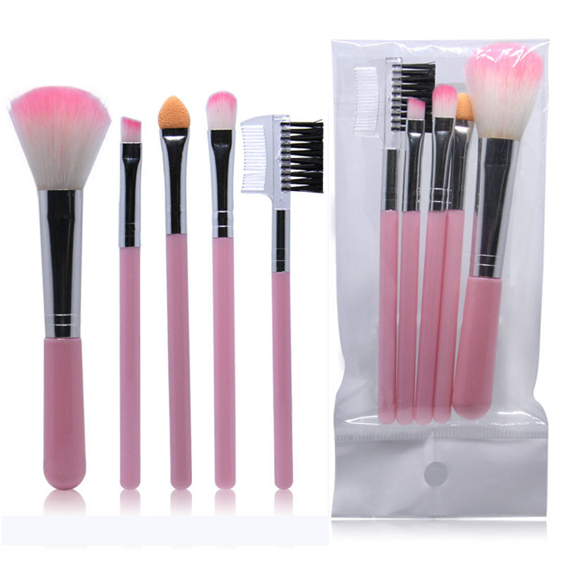 5pcs Full Professional Women's Makeup Brushes High Quality Powder Eyeshadow Eyelash Cheek Color Brush Set Hot Sale Cosmetic Tool