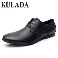 KULADA Men Genuine Leather Shoes Soft Fashion Dress High Quality Basic Casual Comfortable Men Rubber Sole Classic Black Shoes