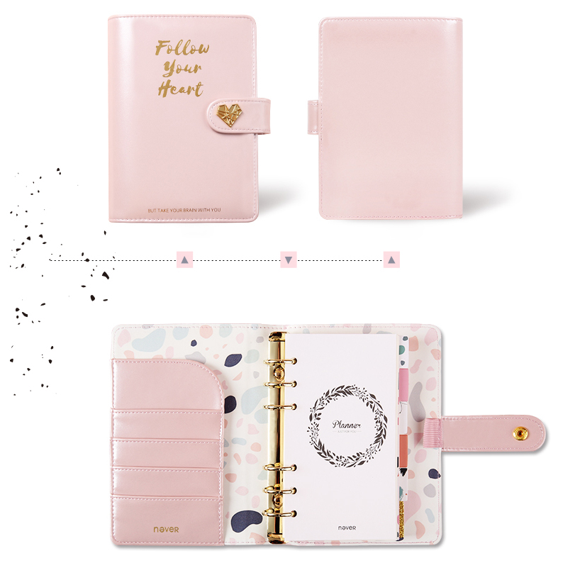 NEVER Pink Series A6 Spiral Notebook Korean Grid Dotted Paper Planner Personal Daily Gift Office And School Supplies Stationery
