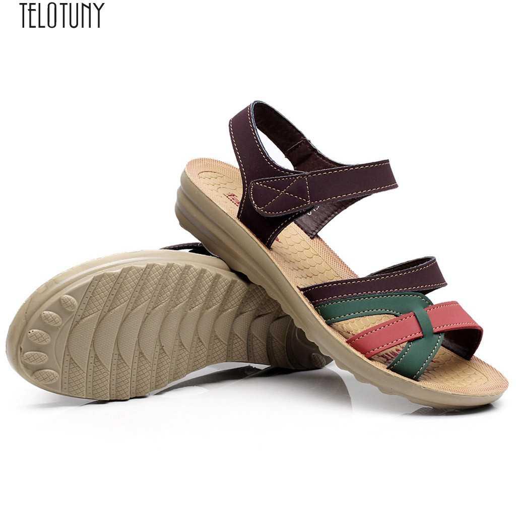 SAGACE Sandali da donna Delle Signore Delle Donne di Modo di Estate Sandali di Cuoio Zeppe Comfort Scarpe di Grandi Dimensioni Zeppe Punta Rotonda Scarpe Da donna