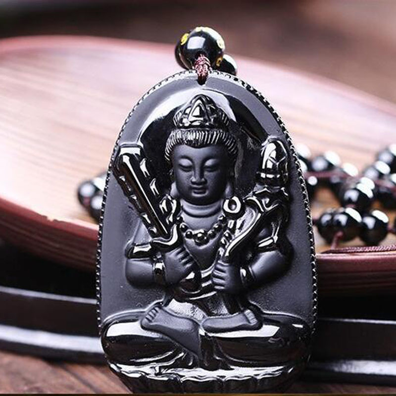 Yu Xin Yuan Natural Black Obsidian Carved Guan Yin Lucky Amulet Pendant Necklace For Women Men Fashion 2015 Jewelry