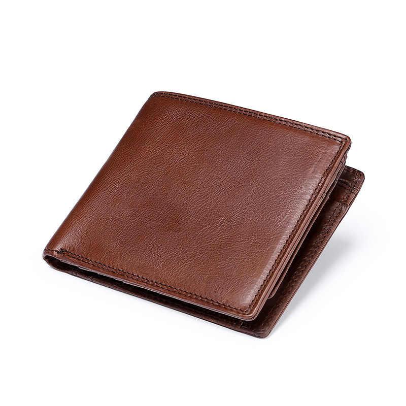 Marrón bolso de cuero genuino de los hombres carteras Delgado cartera hombre cartera monedero Slim tarjeta titular de piel de vaca suave Mini monederos