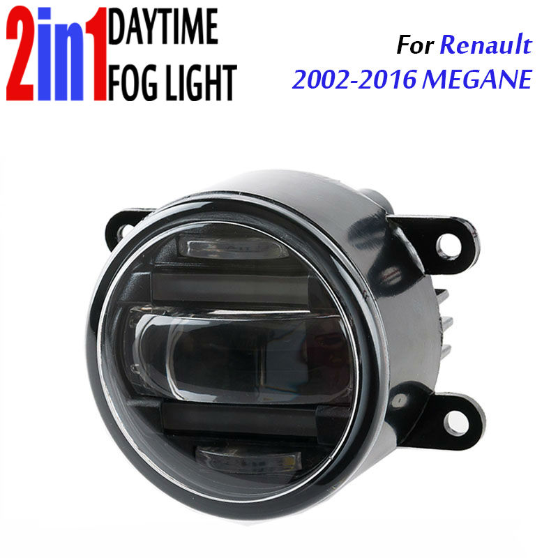 for Renault megane 3.5 90mm Round LED Fog Light Daytime Running Lamp Assembly LED Chips Fog Lamp DRL Lighting Lens eouns led drl daytime running light fog lamp assembly for volkswagen vw golf7 mk7 led chips led bar version