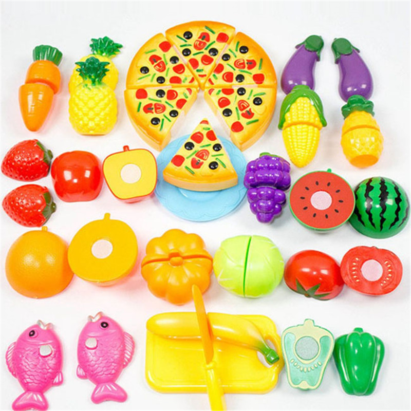 24PCS Children Play House Toy Cut Fruit Pretend Play Educational Toys Plastic Vegetables Pizza Kitchen Toy Classic Toys For Kids