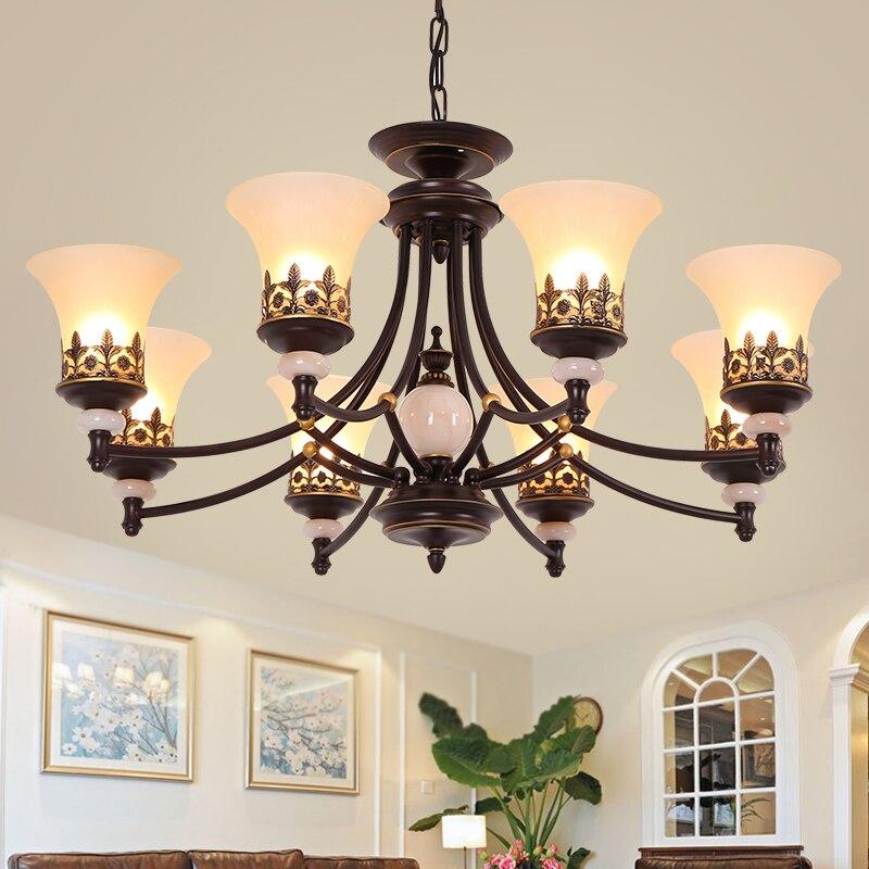 Classical Duplex Floor Chandelier Living Room Lamp European Style Retro Bedroom Diningroom Light North Europe