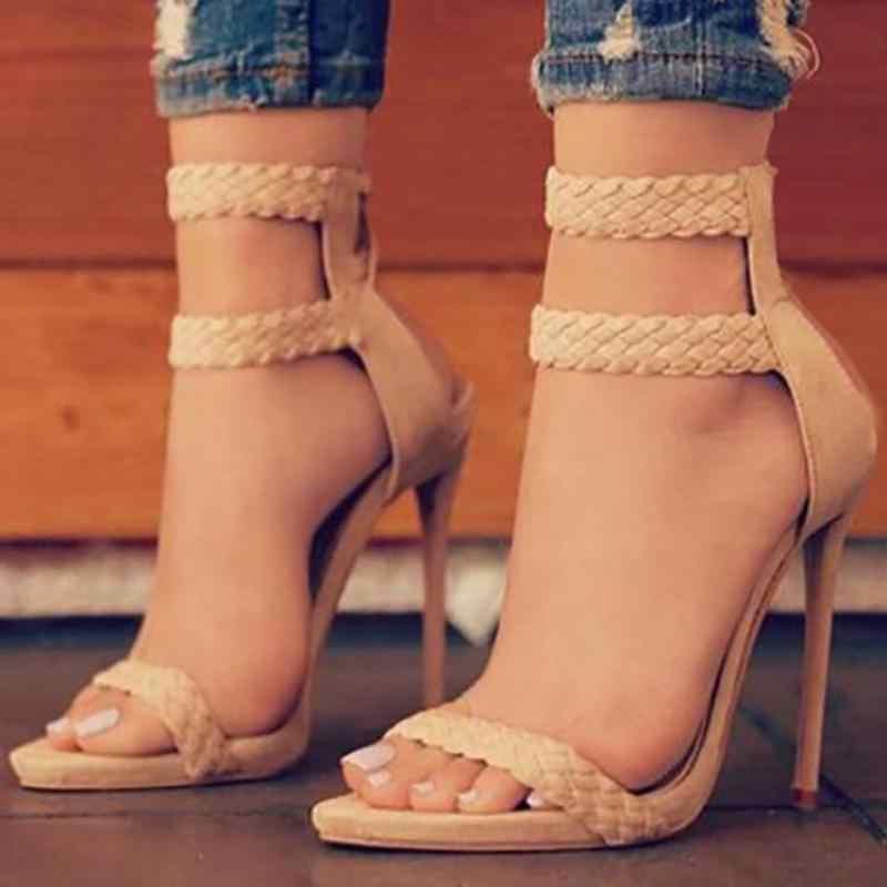 2018 г. европейские и американские новые длинные классические плетеные сандалии на тонком каблуке с ремешком для ног 9