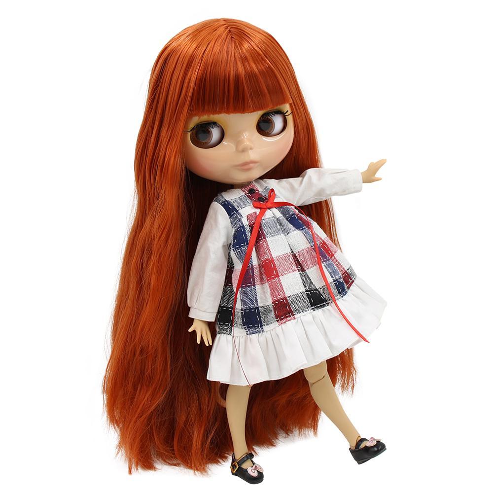 1/6 muñeca bjd fábrica blyth muñeca tan piel Junta cuerpo rojo pelo marrón con flequillo BL232 30cm-in Muñecas from Juguetes y pasatiempos    1
