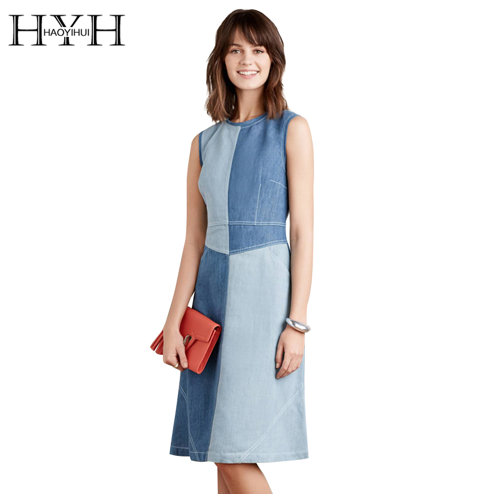 Buy Cheap HYH HAOYIHUI Brief High Waist Denim Dress Women Vintage Sleeveless Slim Dress Female O-Neck Contrast Dress Ladies Vestidos