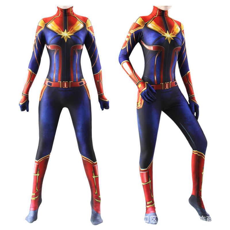 3d feminino meninas versão de filme capitão marvel carol danvers cosplay traje zentai superhero bodysuit macacões para meninas adultos