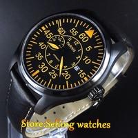 """במקרה פלדת 316L 44 מ""""מ parnis השחור חיוג זכוכית ספיר האוטומטי mens watch-בשעונים מכניים מתוך שעונים באתר"""